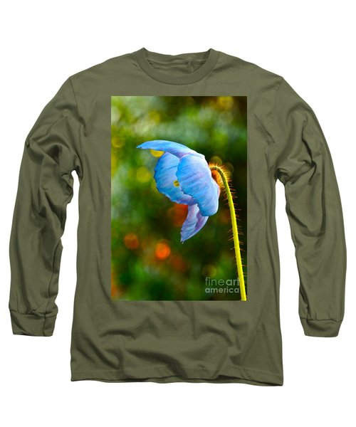 Blue Poppy Dreams Long Sleeve T-Shirt by Byron Varvarigos