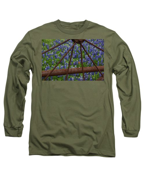 Bluebonnets And Rusted Iron Wheel Long Sleeve T-Shirt