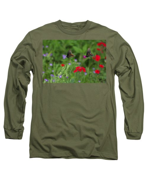 Butterfly Chase Long Sleeve T-Shirt by Susan Rovira
