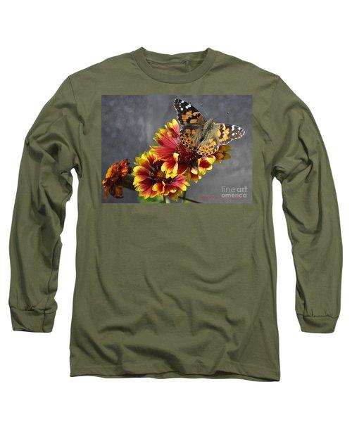 Long Sleeve T-Shirt featuring the photograph Butterfly On A Gaillardia by Verana Stark