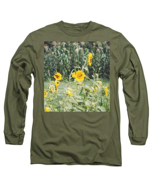 Butterfly On Sunflower Long Sleeve T-Shirt