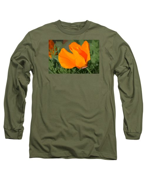 Long Sleeve T-Shirt featuring the photograph California Poppy2 by Rima Biswas