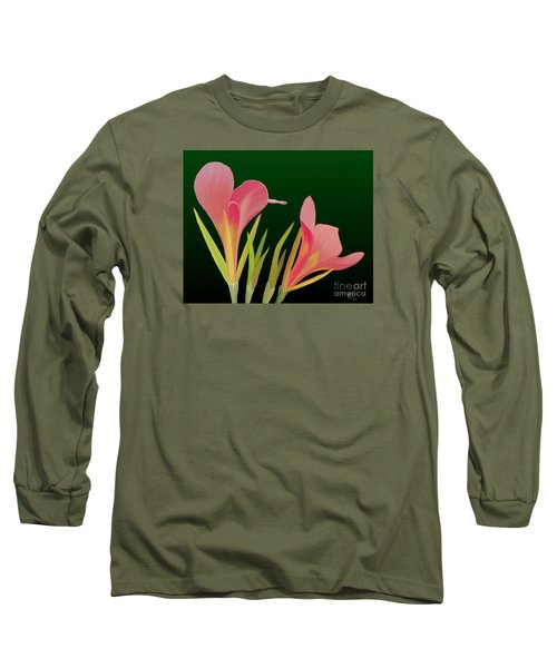 Long Sleeve T-Shirt featuring the painting Canna Lilly Whimsy by Rand Herron