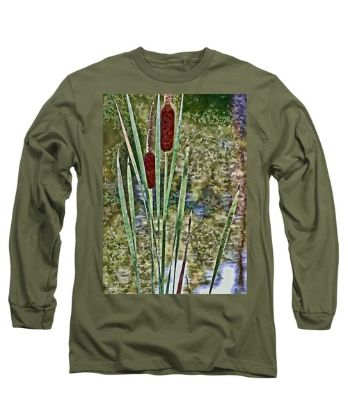 Long Sleeve T-Shirt featuring the photograph Cattails Along The Pond by Don Schwartz