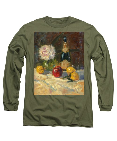 Long Sleeve T-Shirt featuring the painting Champagne And Roses by Marlyn Boyd