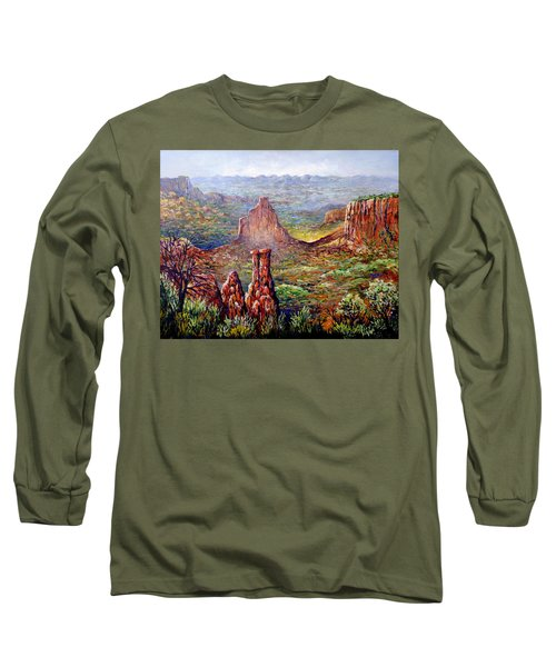 Long Sleeve T-Shirt featuring the painting Colorado National Monument by Lou Ann Bagnall
