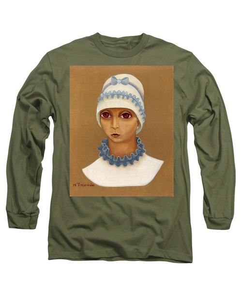 Colorful Young Woman Brown Eyes Blue White Hat Collar  With Ribbon Small Lips Long Sleeve T-Shirt by Rachel Hershkovitz