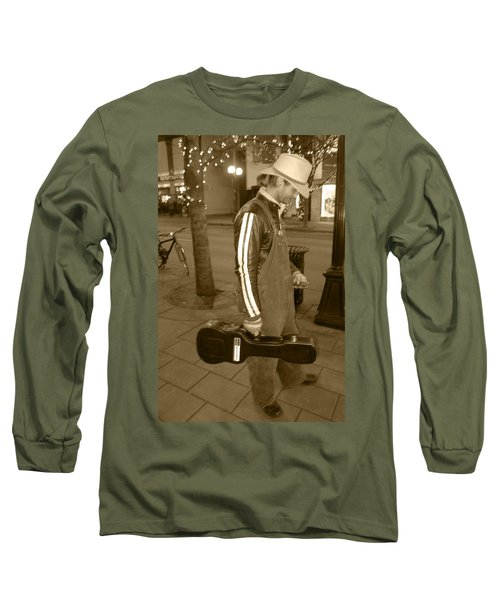 Long Sleeve T-Shirt featuring the photograph Cowboy Musician On Streets by Kym Backland