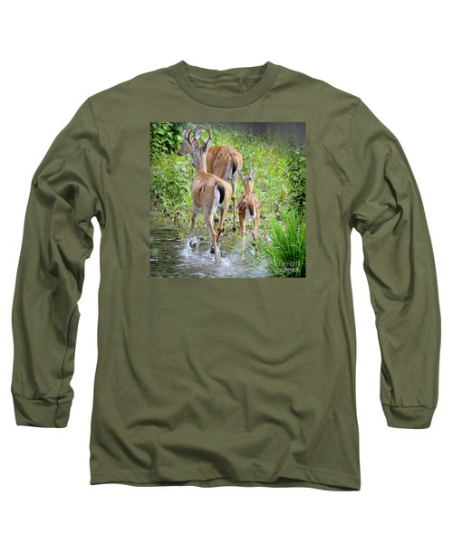 Long Sleeve T-Shirt featuring the photograph Deer Running In Stream by Nava Thompson