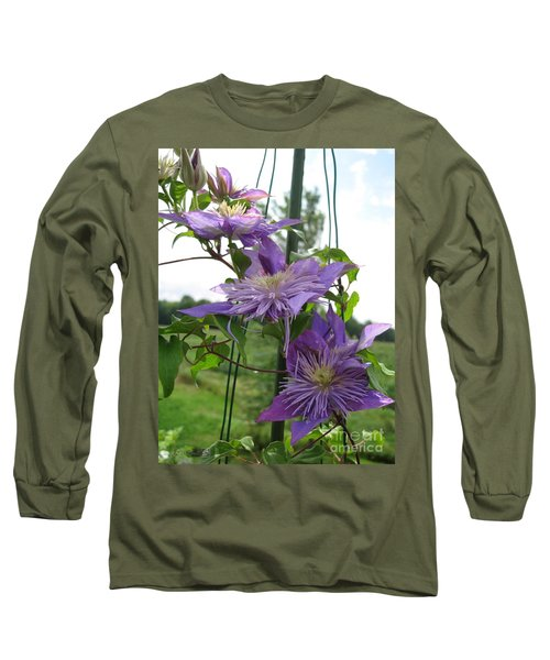 Double Clematis Named Crystal Fountain Long Sleeve T-Shirt by J McCombie