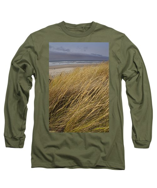 Dune Grass On The Oregon Coast Long Sleeve T-Shirt by Mick Anderson