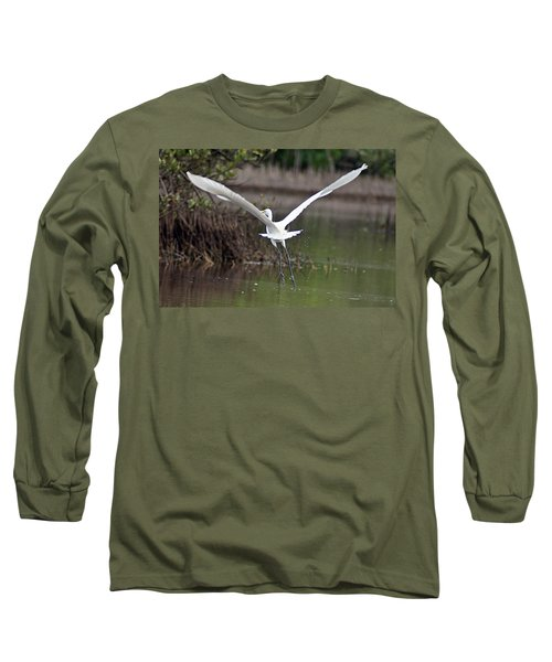 Egret In Flight Long Sleeve T-Shirt