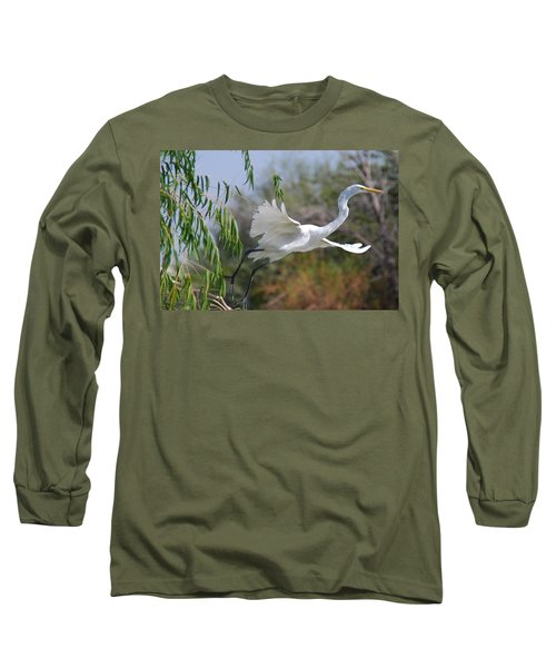Long Sleeve T-Shirt featuring the photograph Egret's Flight by Tam Ryan
