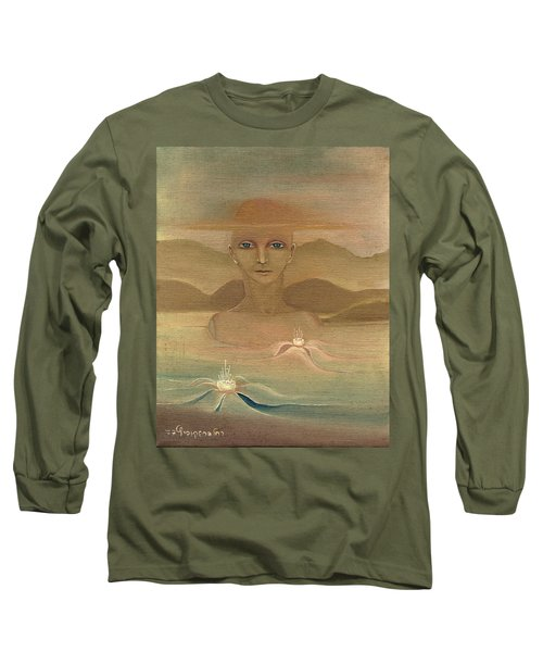 Face From Nature Desert Landscape Abstract Fantasy With Flowers Blue Eyes Yellow Cloud  In Sky  Long Sleeve T-Shirt by Rachel Hershkovitz