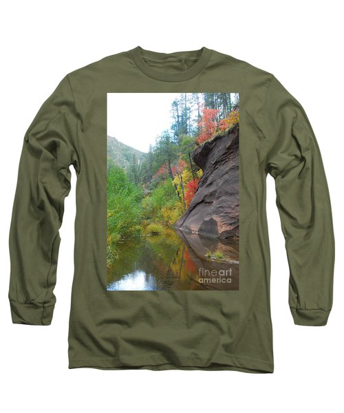 Fall Peeks From Behind The Rocks Long Sleeve T-Shirt by Heather Kirk