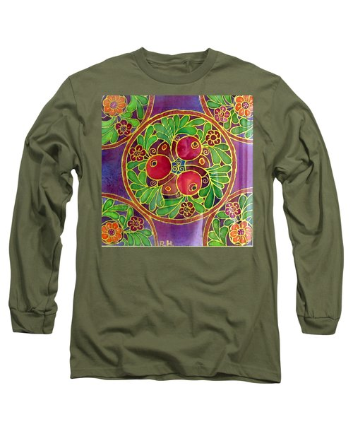 Festive Pomegranates In Gold And Vivid Colors Wall Decor In Red Green Purple Branch Leaves Flowers Long Sleeve T-Shirt by Rachel Hershkovitz