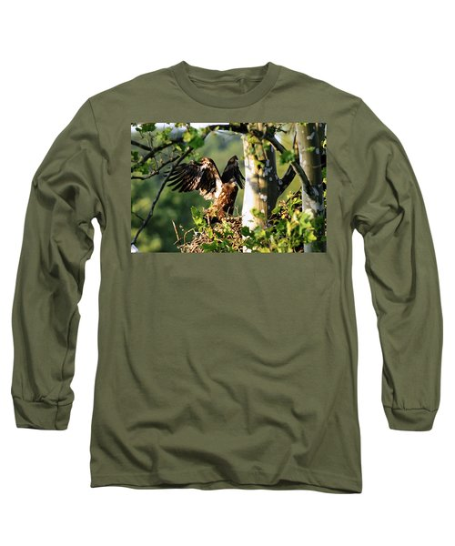 Long Sleeve T-Shirt featuring the photograph Fledgling Testing The Wind by Randall Branham