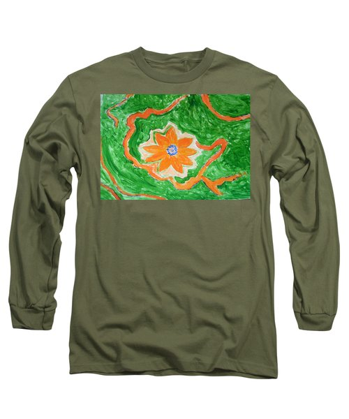 Long Sleeve T-Shirt featuring the painting Floating Flower by Sonali Gangane