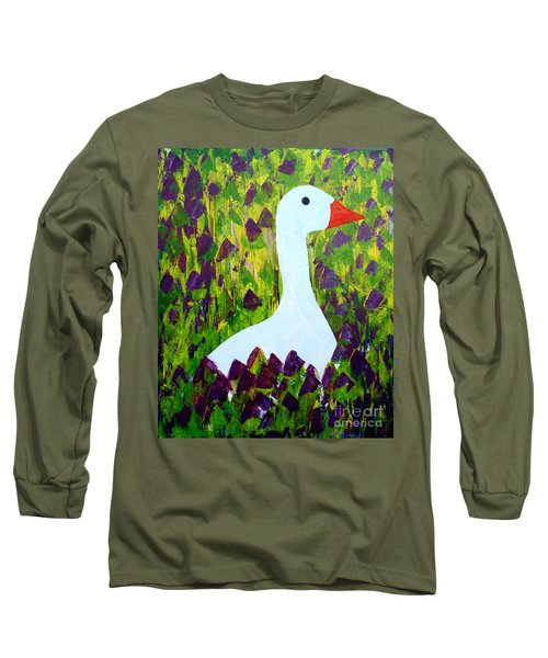 Long Sleeve T-Shirt featuring the painting Goose by Barbara Moignard