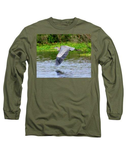 Great Blue Heron Inflight Long Sleeve T-Shirt