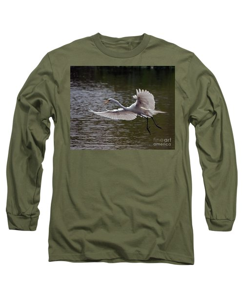 Long Sleeve T-Shirt featuring the photograph Great Egret In Flight by Art Whitton