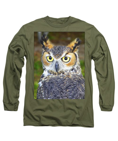 Great Horned Owl Long Sleeve T-Shirt by Barbara Middleton