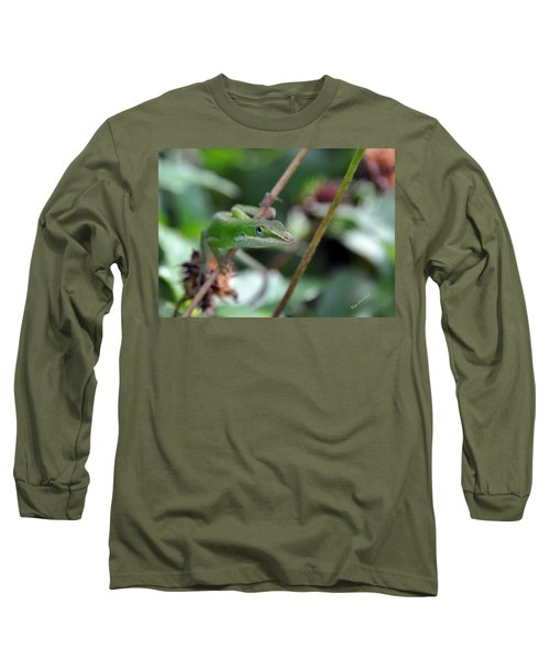 Long Sleeve T-Shirt featuring the photograph Green Anole by Kay Lovingood