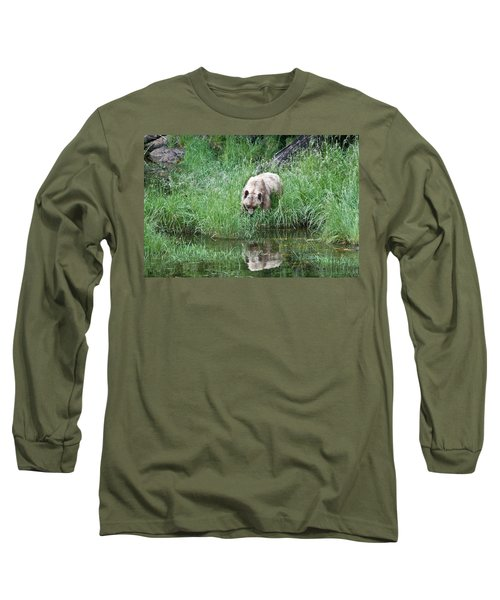 Grizzly Bear And Reflection On Prince Rupert Island Canada 2209 Long Sleeve T-Shirt by Michael Bessler