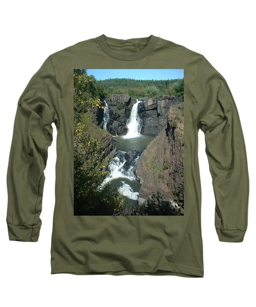 Long Sleeve T-Shirt featuring the photograph High Falls Grand Portage by Bonfire Photography