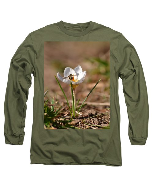 Hoverfly Visitng A Crocus Long Sleeve T-Shirt