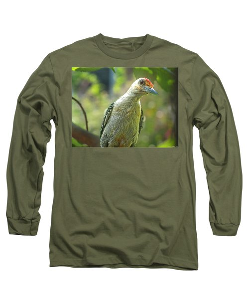 Long Sleeve T-Shirt featuring the photograph Inquisitive Woodpecker by Debbie Portwood
