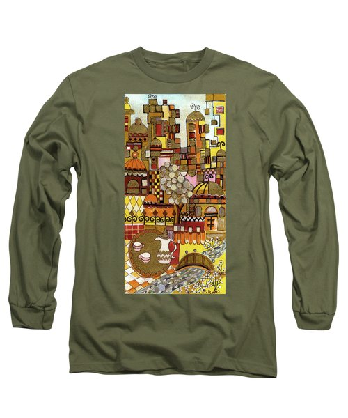 Jerusalem Alleys Tall 5  In Red Yellow Brown Orange Green And White Abstract Skyline Landscape   Long Sleeve T-Shirt by Rachel Hershkovitz