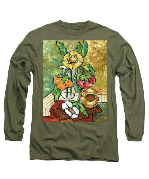 Large Flowers Long Sleeve T-Shirt by Rachel Hershkovitz