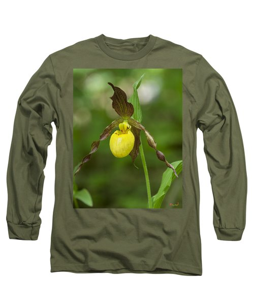 Large Yellow Lady Slipper Orchid Dspf0251 Long Sleeve T-Shirt by Gerry Gantt
