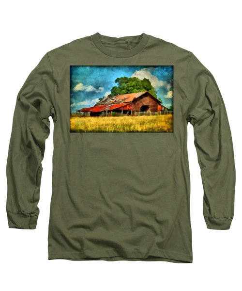 Long Sleeve T-Shirt featuring the painting Long Road Barn by Lynne Jenkins