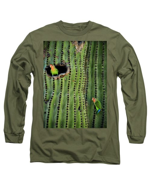 Lovebirds And The Saguaro  Long Sleeve T-Shirt