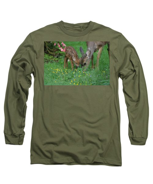 Long Sleeve T-Shirt featuring the photograph Mama And Spotted Baby Fawn by Kym Backland