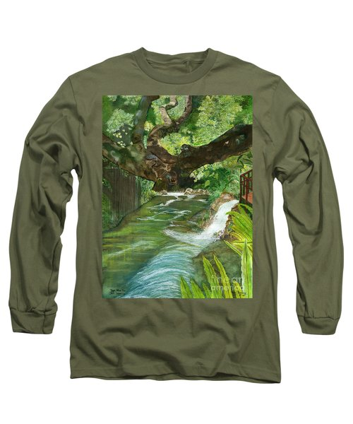 Long Sleeve T-Shirt featuring the painting Maya Ubud Tree Bali Indonesia by Melly Terpening