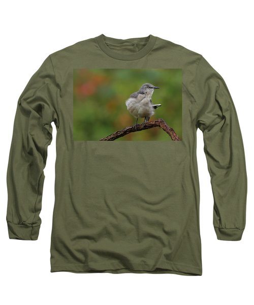 Mocking Bird Perched In The Wind Long Sleeve T-Shirt