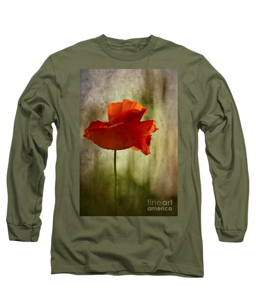 Long Sleeve T-Shirt featuring the photograph Moody Poppy. by Clare Bambers - Bambers Images