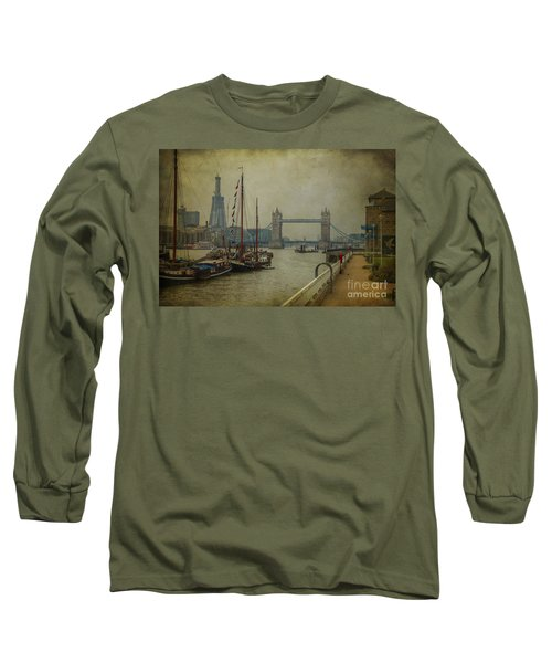 Long Sleeve T-Shirt featuring the photograph Moored Thames Barges. by Clare Bambers