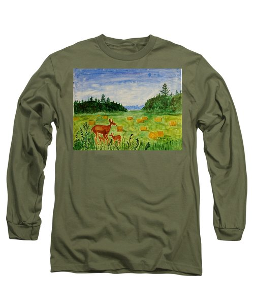 Long Sleeve T-Shirt featuring the painting Mother Deer And Kids by Sonali Gangane