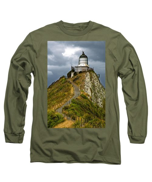 Nugget Point Light House And Dark Clouds In The Sky Long Sleeve T-Shirt
