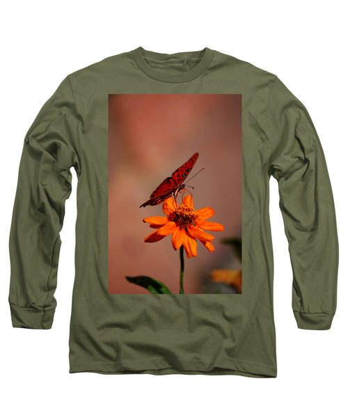 Orange Butterfly Orange Flower Long Sleeve T-Shirt