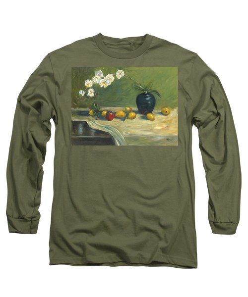 Orchids And Vase Long Sleeve T-Shirt by Marlyn Boyd