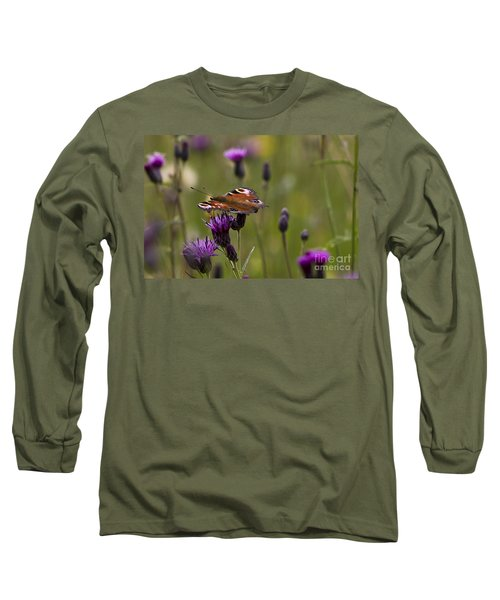 Peacock Butterfly On Knapweed Long Sleeve T-Shirt