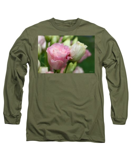 Pink And White Lisianthus Long Sleeve T-Shirt