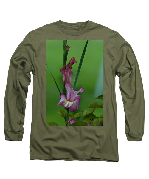Long Sleeve T-Shirt featuring the photograph Pink Gladiolus by Ed Gleichman