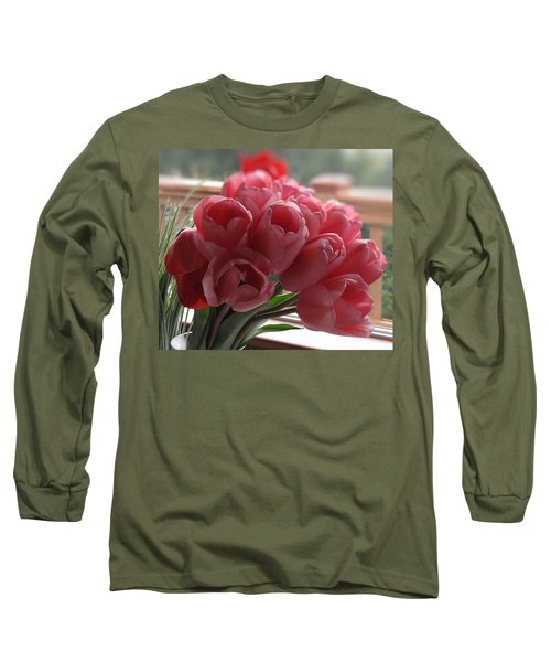 Long Sleeve T-Shirt featuring the photograph Pink Tulips In Vase by Katie Wing Vigil