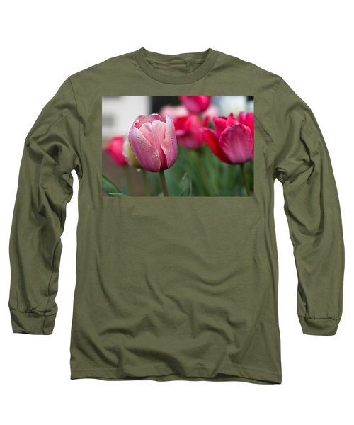 Pink Tulips With Water Drops Long Sleeve T-Shirt